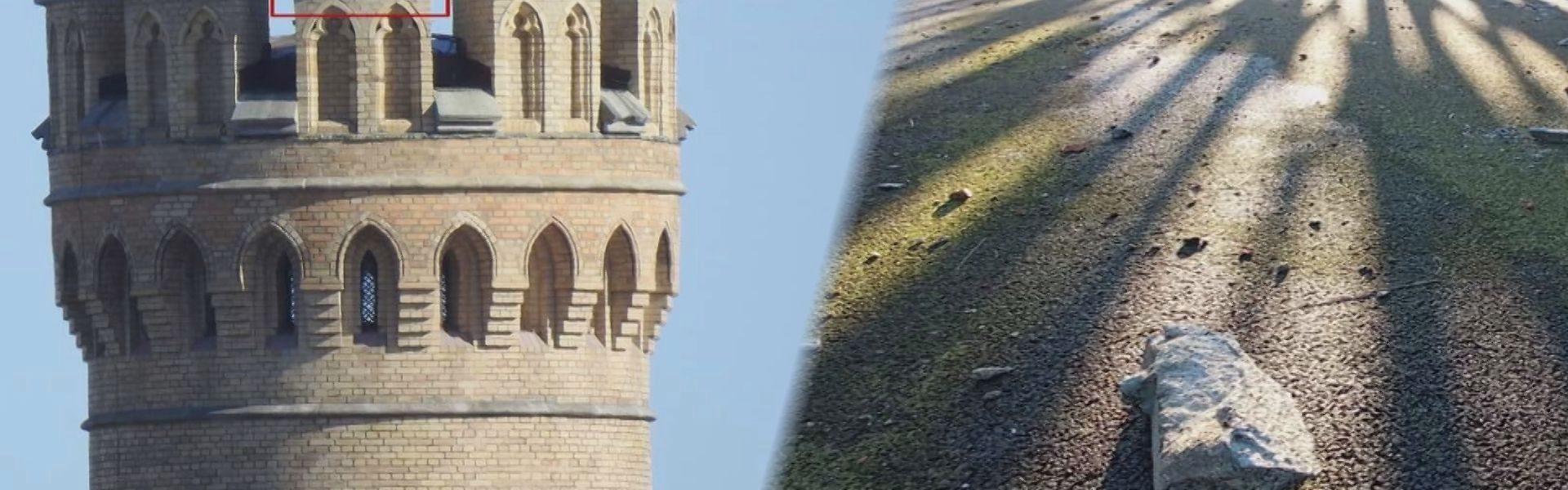 Ukruszył się fragment mostowej wieżyczki